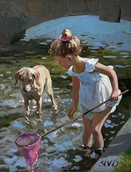 Friends Together by Sherree Valentine Daines - Original Painting on Board sized 11x12 inches. Available from Whitewall Galleries